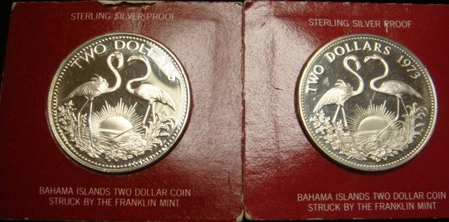 77A: Two BAHAMA ISLAND TWO DOLLAR STERLING Coins, 73 &