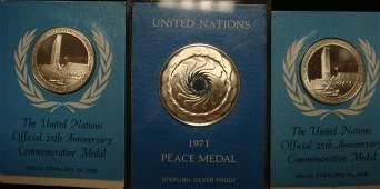 92A THREE UN COMMEMORATIVE Sterling Silver Coins