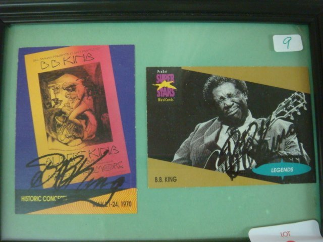 9: Two B.B. King Autographs on Collector Cards: