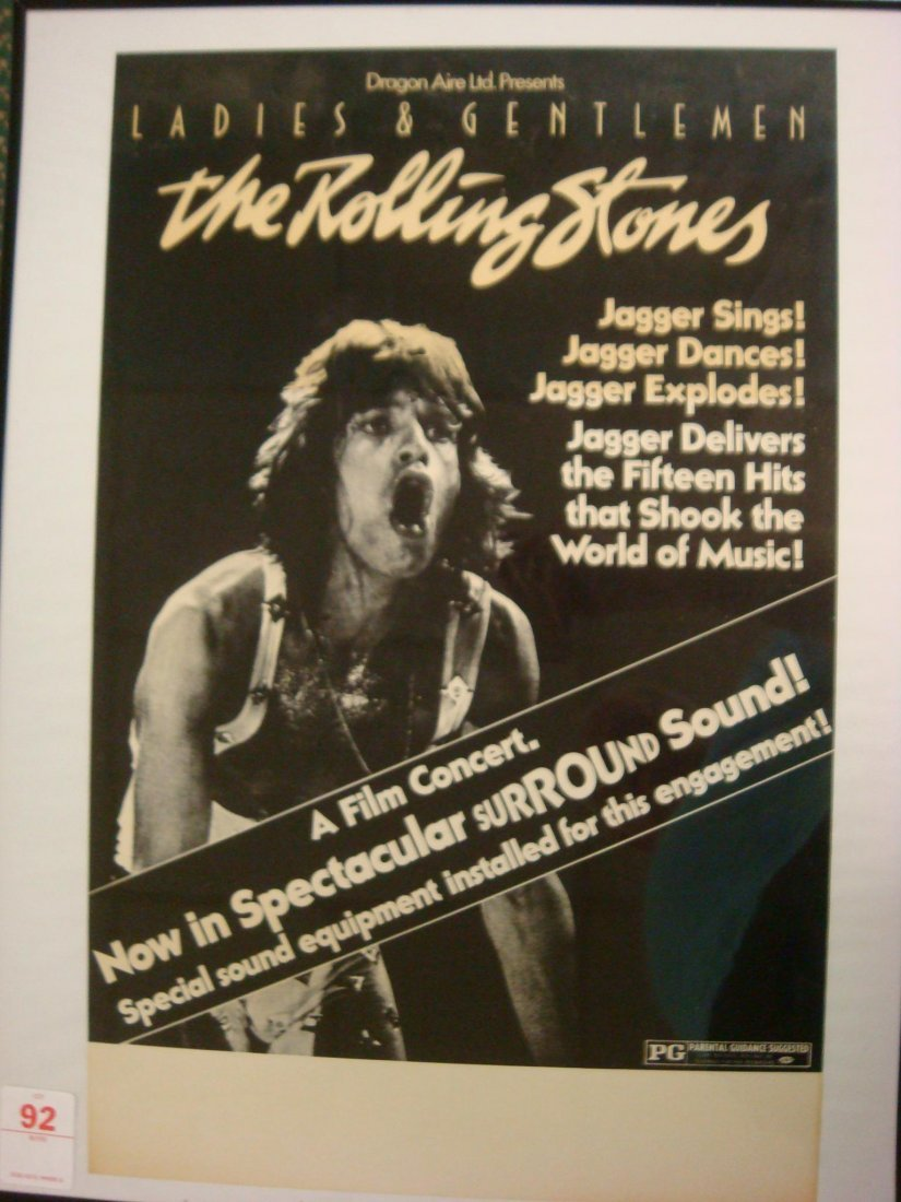 92: Rolling Stones A Film Concert Poster in Frame: