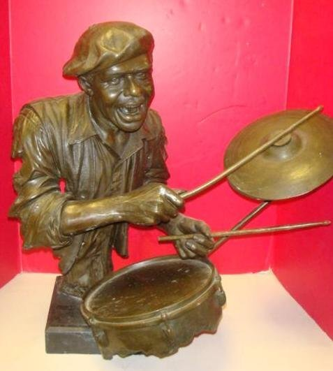 119: JAZZ DRUMMER, Bronze Statue,