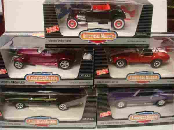 Five Die Cast American Muscle Cars