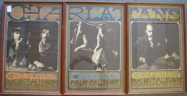 90A: CHARLATANS Avalon Ballroom Tryptic Posters:
