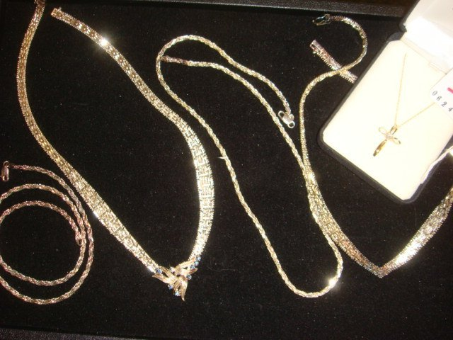 1: Four Italian 925 Silver Necklaces, 10KT Cross: