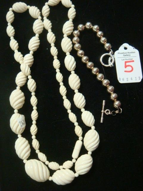 5: Ivory Necklace and Sterling Bead Bracelet: