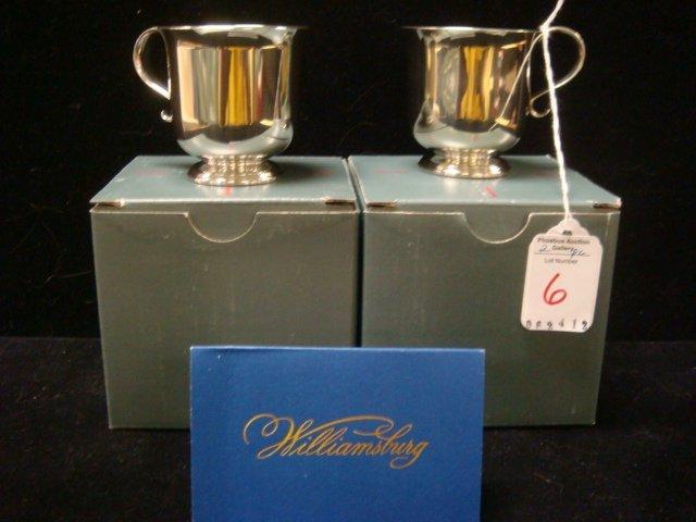 6: Pair of LENOX Kirk Stieff Williamsburg Pewter Cups: