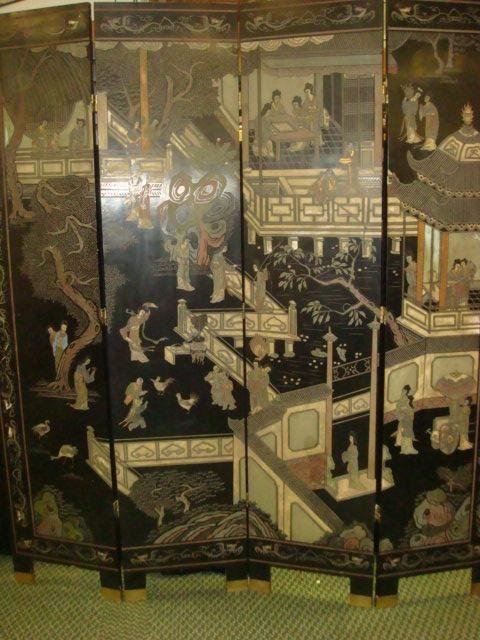 11: Four Panel Asian Black Lacquer Screen: