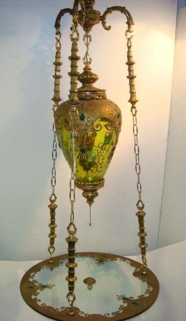 17: 1960's Jeweled Glass Lamp with Suspended Table: