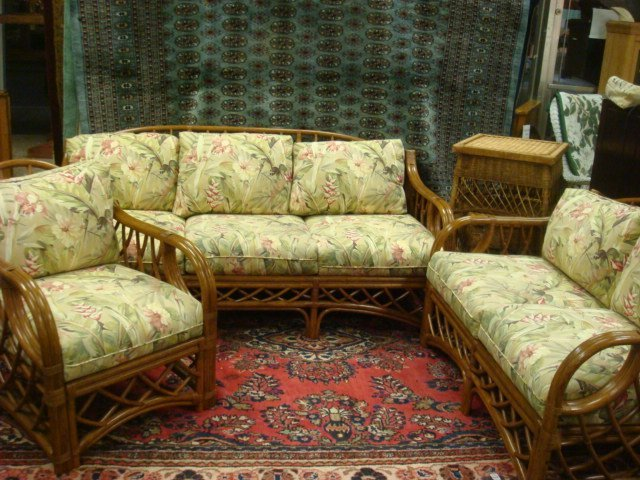 20: Five Piece Rattan Loose Cushion Sunroom or Porch Se
