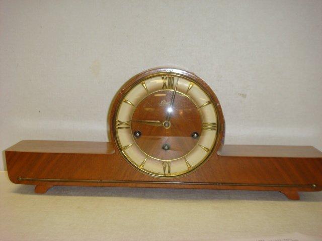 22: Art Deco SCHATZ Germany Hardwood Cased Mantel Clock
