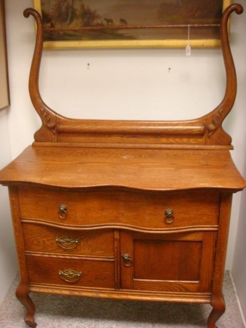 23: Vintage Oak Washstand with Towel Bar: