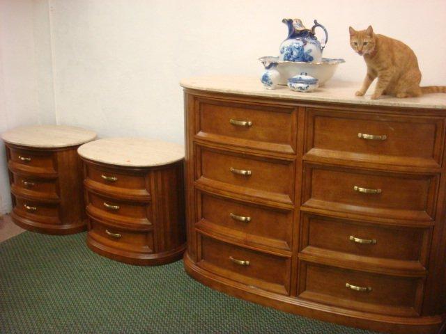 250: CENTURY Furniture Marble Top Dresser and Nightstan