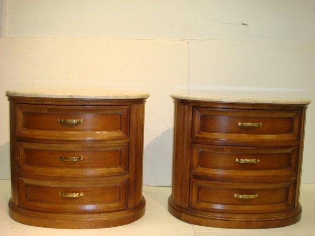 250: CENTURY Furniture Marble Top Dresser and Nightstan - 4