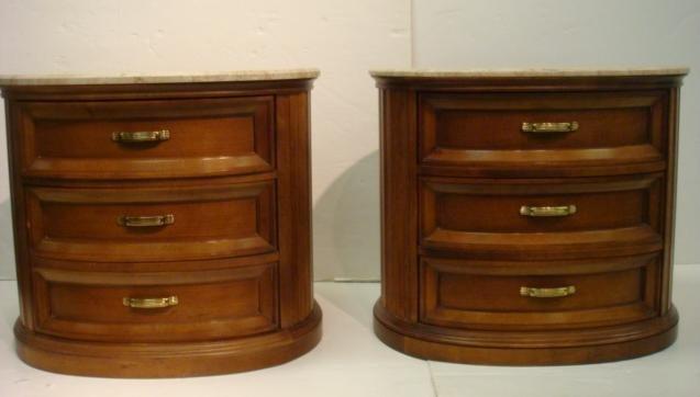 250: CENTURY Furniture Marble Top Dresser and Nightstan - 9
