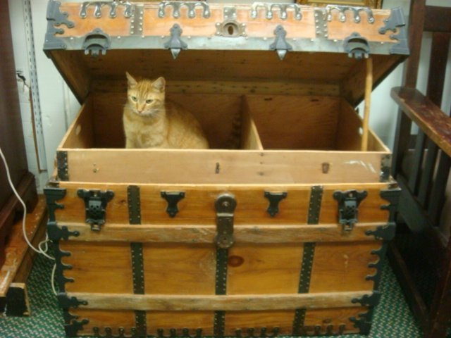 324: Metal and Wood Banded Vintage Steamer Trunk with T