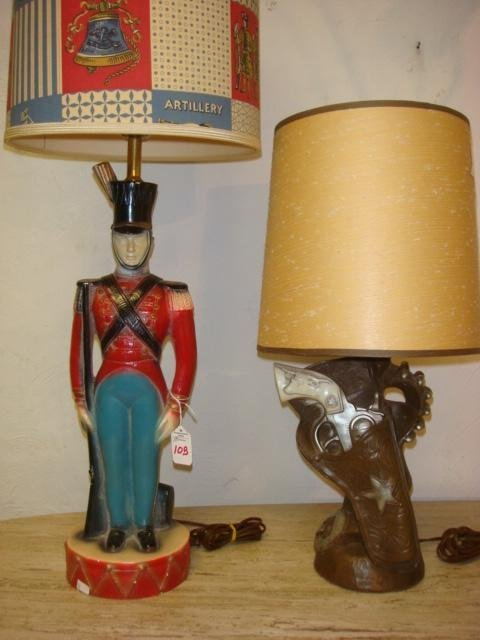 10B: Two Vintage Figural Lamps, One Soldier, One 6 Gun: