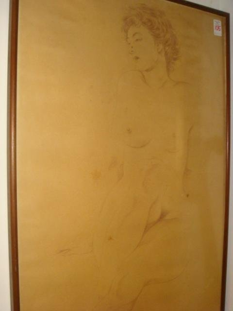 3: Conte Crayon Nude Female Life Figure on Paper: