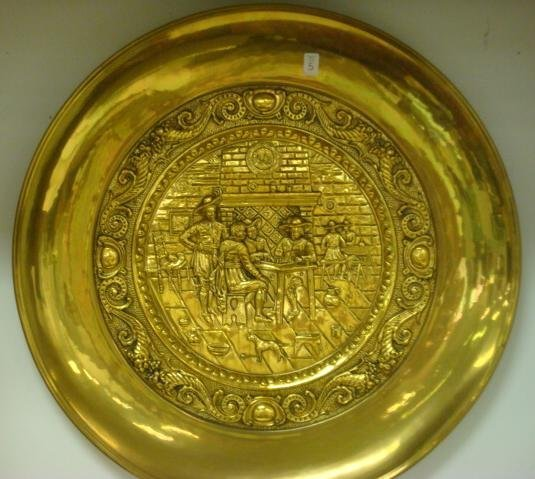 5: PEERAGE Large Brass Embossed Wall Plaque or Charger: