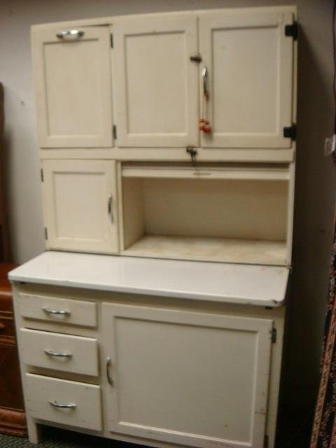 6: White Painted Hoosier Style Kitchen Cabinet: