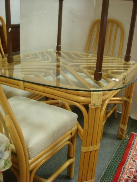 8: Rattan Glass Top Table and 4 Side Chairs: