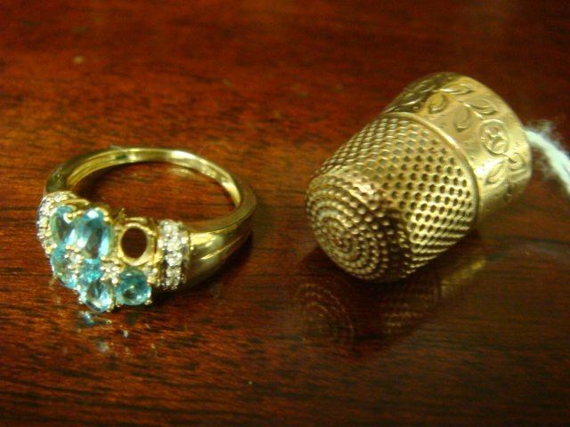 13: 10K Yellow Gold Antique Thimble and Topaz Ring: