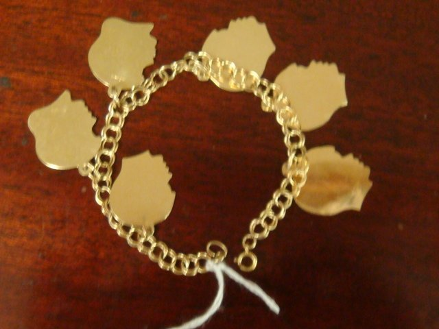 14: 14K Double Link Charm Bracelet with 6 Charms:
