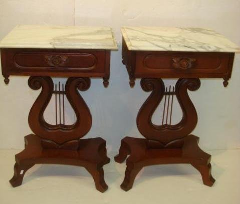 17: Pair of Lyre Base Marble Top Side Tables: