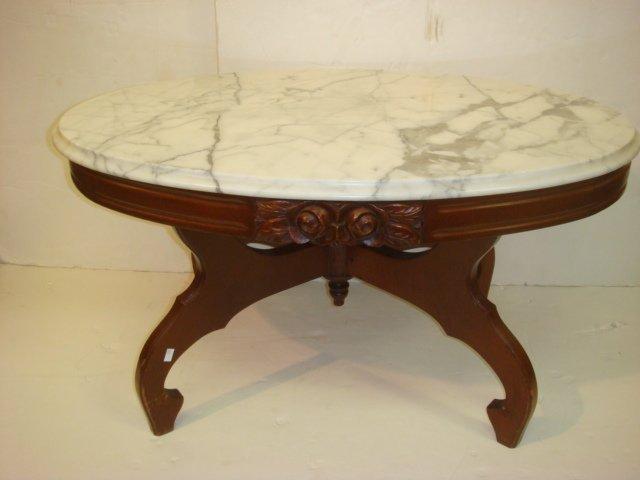 18: Victorian Style Oval Italian Marble Top Coffee Tabl