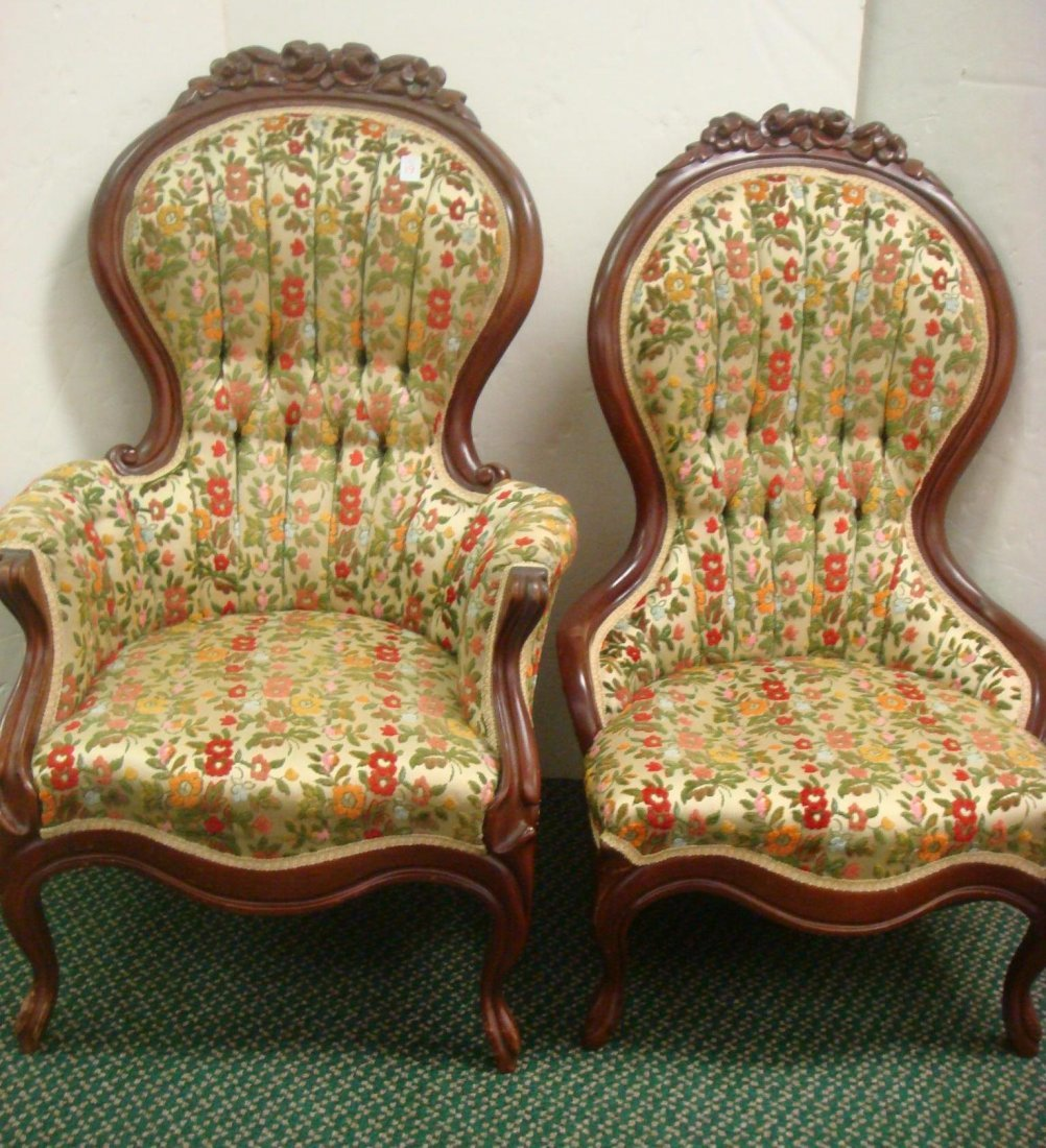 19: Victorian Rose Carved Ladies and Gent's Chairs: