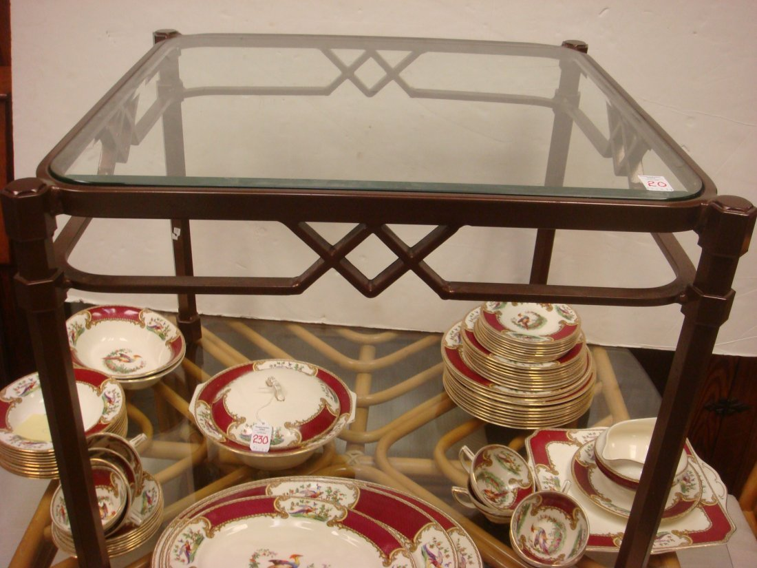 20: Iron Based Glass Top Side Tables: