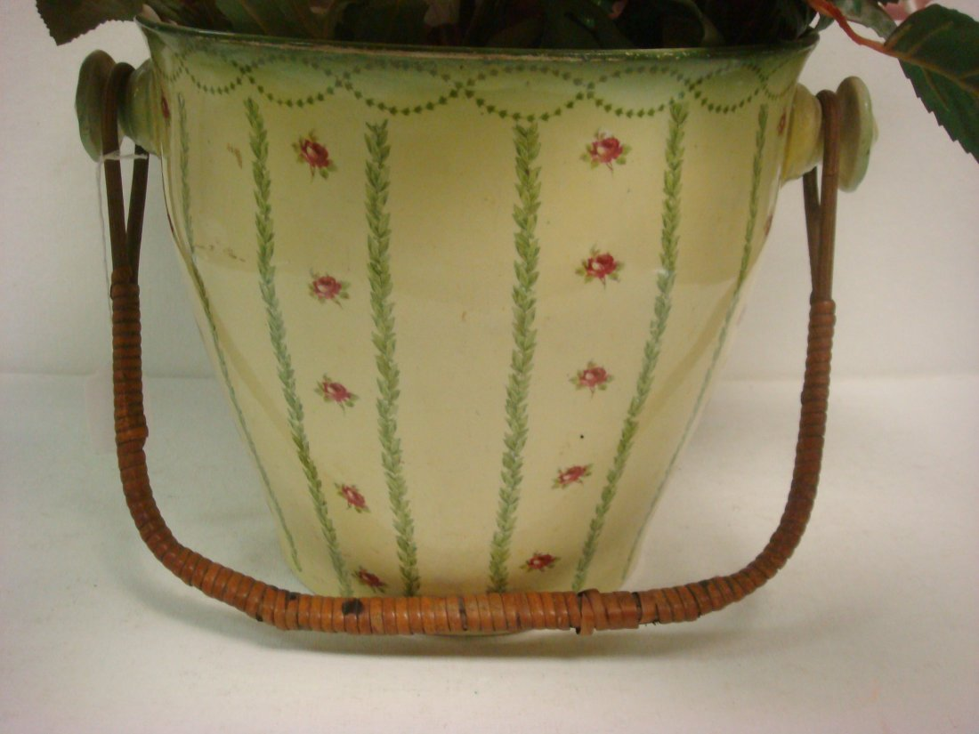 21: Ceramic Basket with Wicker Handle, Rose Transfers:
