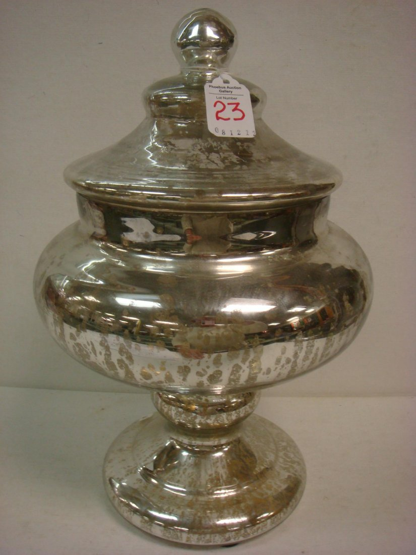 23: Silvered Mercury Glass Lidded Compote: