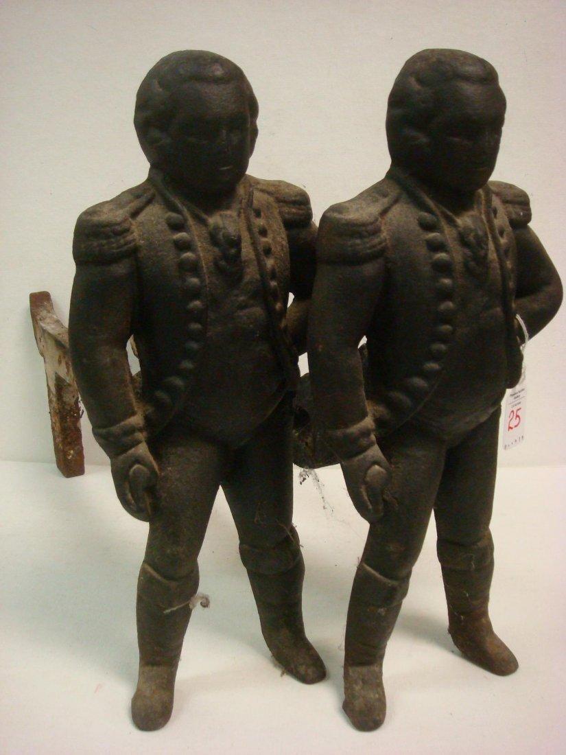 25: Pair of Cast Iron George Washington Figural Andiron