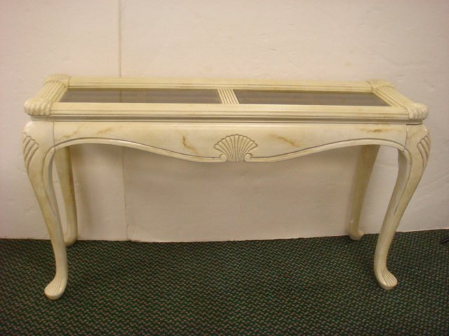 Glass top shell carved ivory painted sofa table 216 glass top shell carved ivory painted sofa table geotapseo Image collections