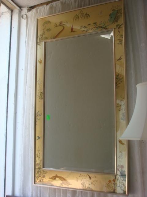 1: Beveled Trumeau Mirror, Handpainted by C. LINDOWER: