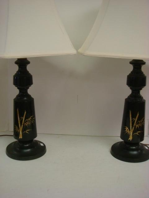 2: Pair of Black Metal Lamps with Acid Etched Bamboo: