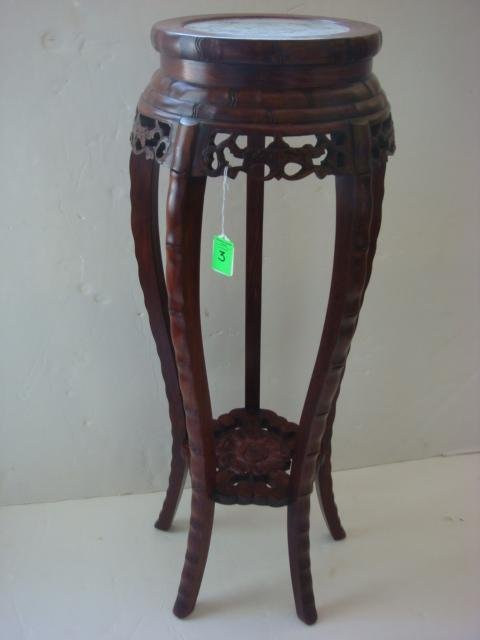 3: Handcarved Marble Top Plant Stand: