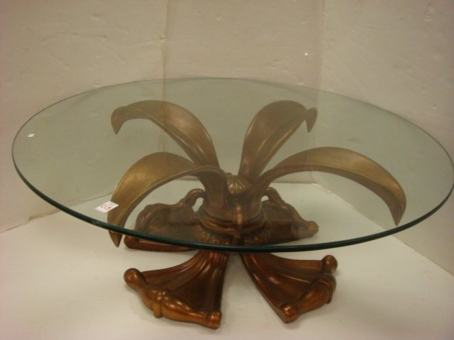 Glass Top Coffee Table with Flower Form Metal Base