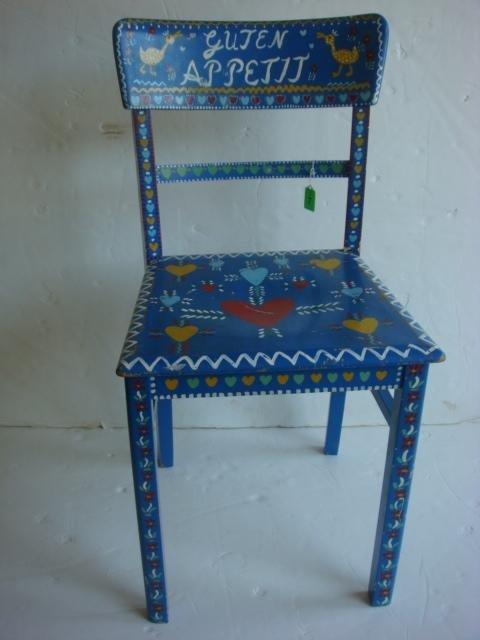 7: Handpainted Adolf Ackerstaff German Side Chair: