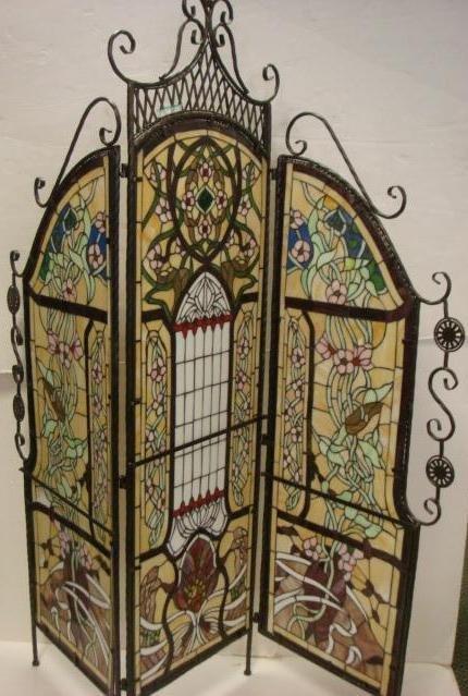 10: Three Panel Slag Glass Folding Screen: