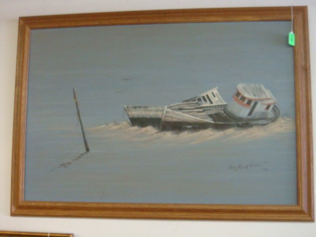 12: Signed BETSY MICHELL WALLACE Acrylic Boat on Canvas