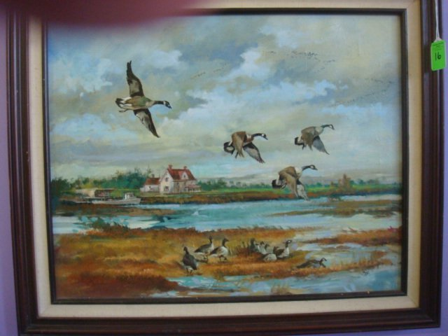 16: Initialed BERNARD PARKE Oil on Canvas, Canada Geese