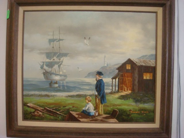17: Signed KENNETH SUESS Oil on Canvas Ghost Ship:
