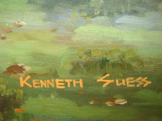 17: Signed KENNETH SUESS Oil on Canvas Ghost Ship: - 3