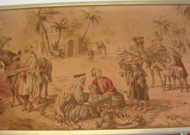 19: Vintage Middle Eastern Scenic Woven Wall Tapestry: - 2