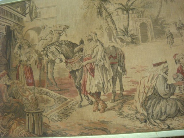 19: Vintage Middle Eastern Scenic Woven Wall Tapestry: - 3