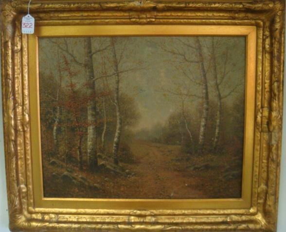 322: Signed GEORGE W DREW Woodland Landscape Oil Painti