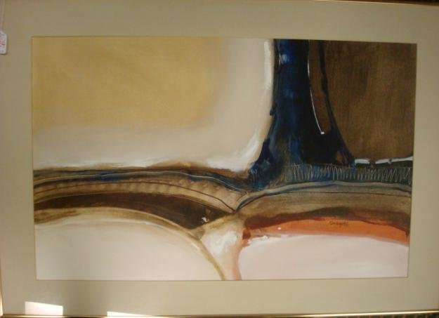 324: Signed KEN WRIGHT Abstract Mixed Medium on Paper: