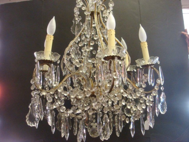 305: Elegant Six Arm Regency Style Crystal Chandelier: