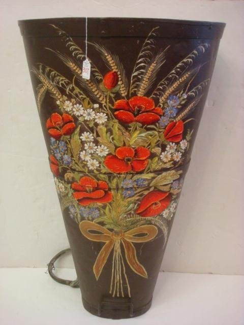 307: Large Handpainted Galvanized Jardin Hotte Basket: